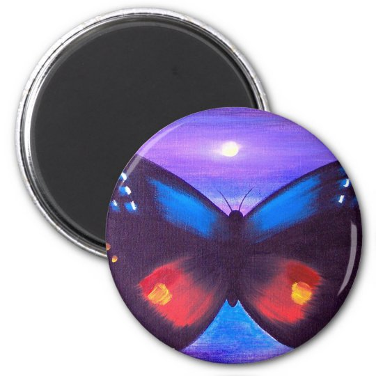 Blue Butterfly Sunset Painting - Multi Magnet