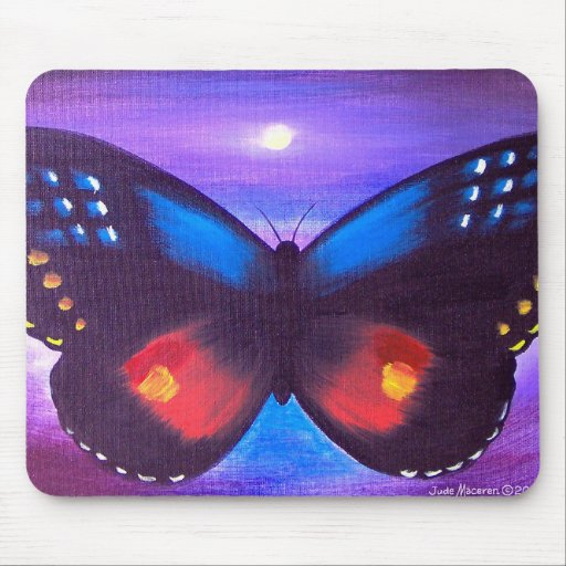 Blue Butterfly Sunset Painting - Multi Mouse Pad