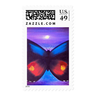 Blue Butterfly Sunset Painting - Multi Postage Stamp