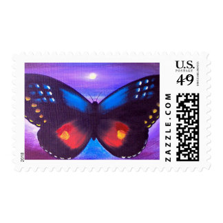 Blue Butterfly Sunset Painting - Multi Postage