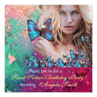 BLUE BUTTERFLY SWEET 16 PARTY  MONOGRAM CARD