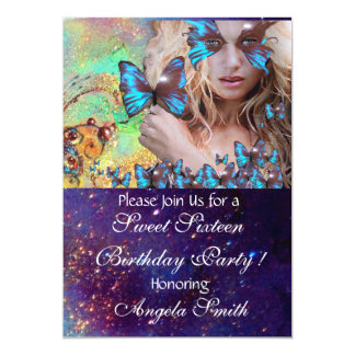 BLUE BUTTERFLY SWEET 16 PARTY  MONOGRAM, CARD