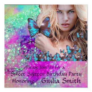 BLUE BUTTERFLY SWEET 16 PARTY  MONOGRAM,Champagne Card