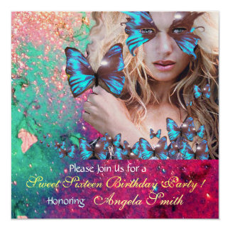 BLUE BUTTERFLY SWEET 16 PARTY  MONOGRAM,GOLD CARD