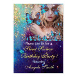 BLUE BUTTERFLY SWEET 16 PARTY  MONOGRAM,GOLD CUSTOM INVITATIONS