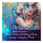 BLUE BUTTERFLY SWEET 16 PARTY  MONOGRAM INVITATION