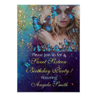 BLUE BUTTERFLY SWEET 16 PARTY MONOGRAM Silver Card