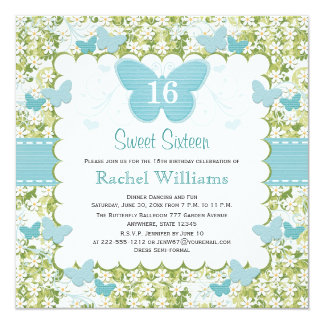 """Blue Butterfly Sweet 16 Photo Invitations 5.25"""" Square Invitation Card"""