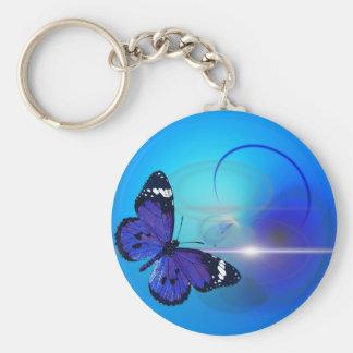 Blue butterfly swirls basic round button keychain