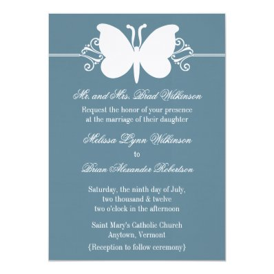 Blue Butterfly Swirls Wedding Invite