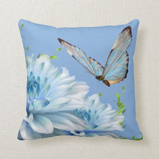 Blue Butterfly Throw Pillow Zazzle