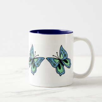 Blue Butterfly Two-Tone Coffee Mug