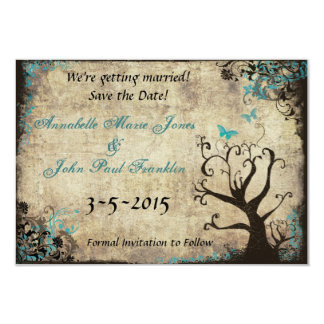 "Blue Butterfly Vintage Save the Date Card 3.5"" X 5"" Invitation Card"
