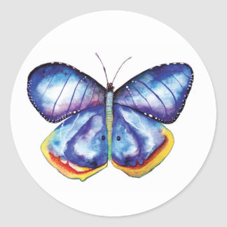 Blue Butterfly Watercolor Classic Round Sticker