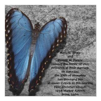 Blue Butterfly Wedding Card