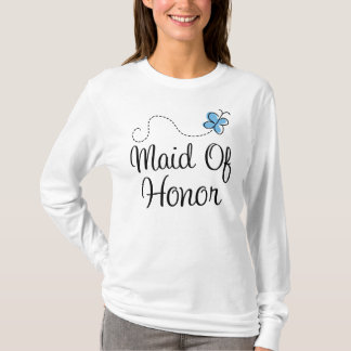 Blue Butterfly Wedding Maid Of Honor Tee Shirt