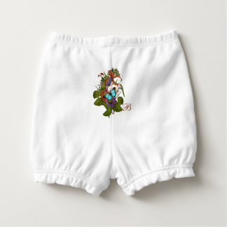 Blue Butterfly & Wildflowers Personalized Diaper Cover