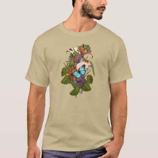 Blue Butterfly & Wildflowers Purple, Pink & Orange T-Shirt