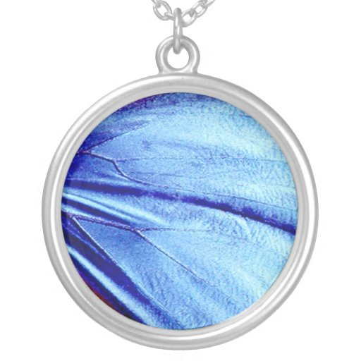 Blue butterfly wing round pendant necklace