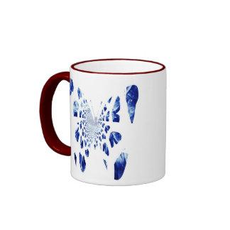 Blue Butterfly Wings Ringer Coffee Mug