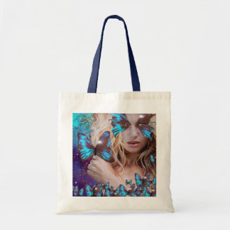BLUE BUTTERFLY WITH GREEN GOLD SPARKLES BUDGET TOTE BAG