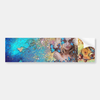 BLUE BUTTERFLY WITH GREEN GOLD SPARKLES CAR BUMPER STICKER