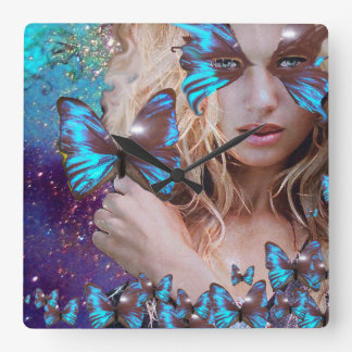 BLUE BUTTERFLY WITH GREEN GOLD SPARKLES WALL CLOCK