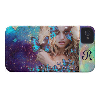 BLUE BUTTERFLY WITH GREEN GOLD SPARKLES iPhone 4 CASES