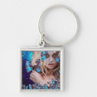 BLUE BUTTERFLY WITH GREEN GOLD SPARKLES KEYCHAIN