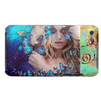 BLUE BUTTERFLY WITH GREEN GOLD SPARKLES MONOGRAM iPod TOUCH CASE