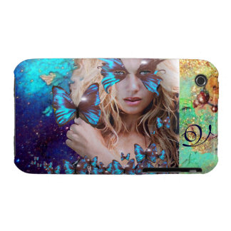 BLUE BUTTERFLY WITH GREEN GOLD SPARKLES MONOGRAM Case-Mate iPhone 3 CASES