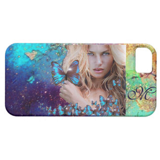 BLUE BUTTERFLY WITH GREEN GOLD SPARKLES MONOGRAM iPhone 5 CASE