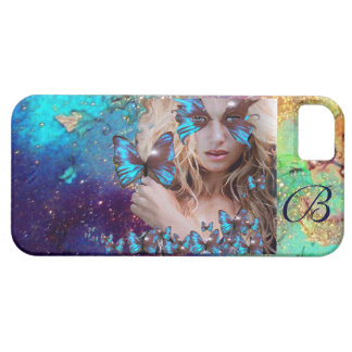 BLUE BUTTERFLY WITH GREEN GOLD SPARKLES MONOGRAM iPhone 5 COVERS