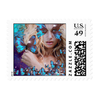 BLUE BUTTERFLY WITH GREEN GOLD SPARKLES POSTAGE