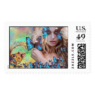BLUE BUTTERFLY WITH GREEN GOLD SPARKLES POSTAGE STAMP