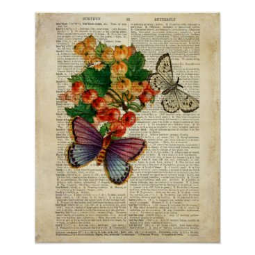 terrymcclaryart Blue Butterfly with Red Flowers Vintage Art Poster
