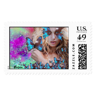 BLUE BUTTERFLY WITH TEAL PURPLE GOLD SPARKLES POSTAGE