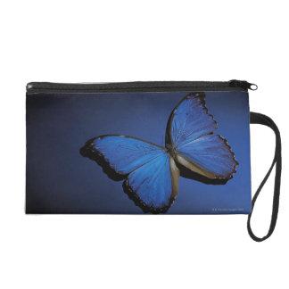 Blue butterfly wristlet clutch