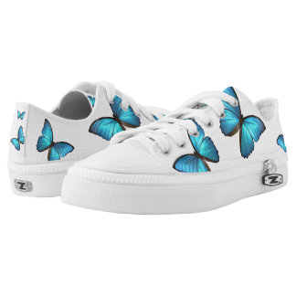 Blue Butterflys dance on comfy shoes! Low-Top Sneakers