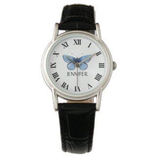 Blue Butterlfy Women's Classic Leather Strap Watch
