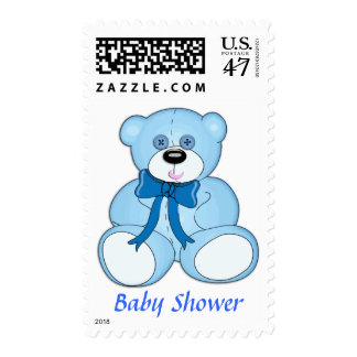 Blue Button Eyed Teddy Bear Baby Shower Postage