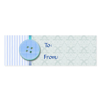 Blue Buttons and Stripes Gift Tag Business Cards
