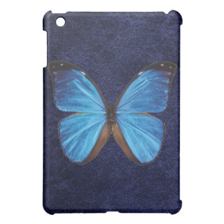 Blue Buttrefly Blue Leather Background iPad Case