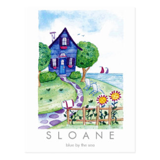 blue by the sea post card