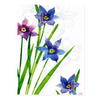 blue by you watercolor postcard
