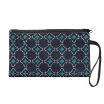 Blue Byzantine Bagettes Wristlet Bag