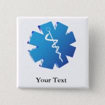 Blue caduceus medical gifts button
