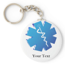 Blue caduceus medical gifts keychain