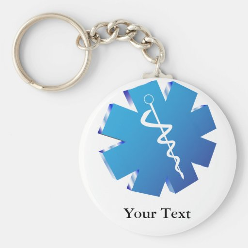 Blue caduceus medical gifts keychains