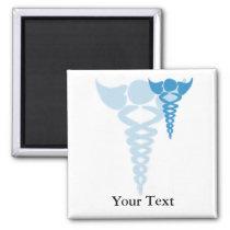 Blue caduceus medical gifts magnet